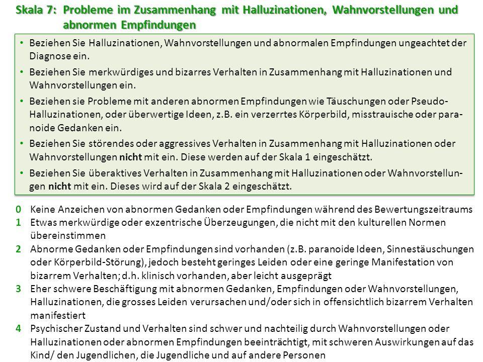 Skala 7: Probleme im Zusammenhang mit Halluzinationen, Wahnvorstellungen und abnormen Empfindungen
