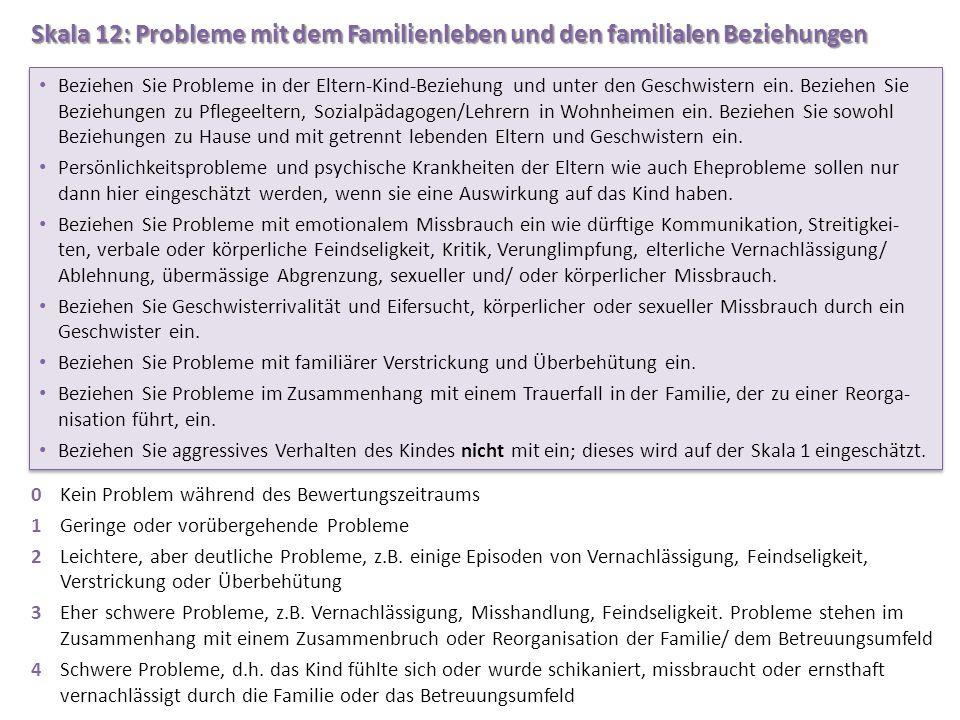 Skala 12: Probleme mit dem Familienleben und den familialen Beziehungen