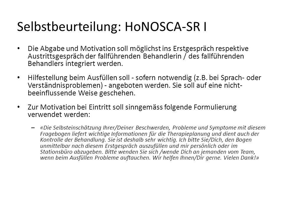 Selbstbeurteilung: HoNOSCA-SR I