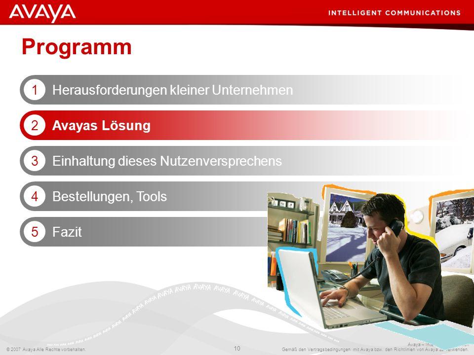 Programm Herausforderungen kleiner Unternehmen 1 Avayas Lösung 2