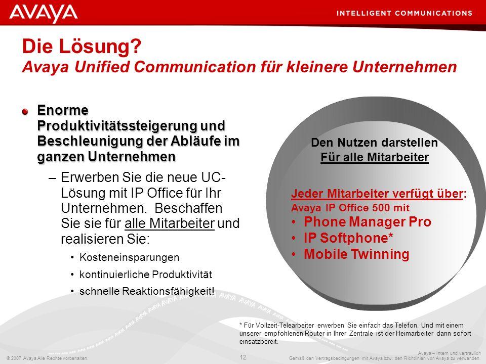 Die Lösung Avaya Unified Communication für kleinere Unternehmen