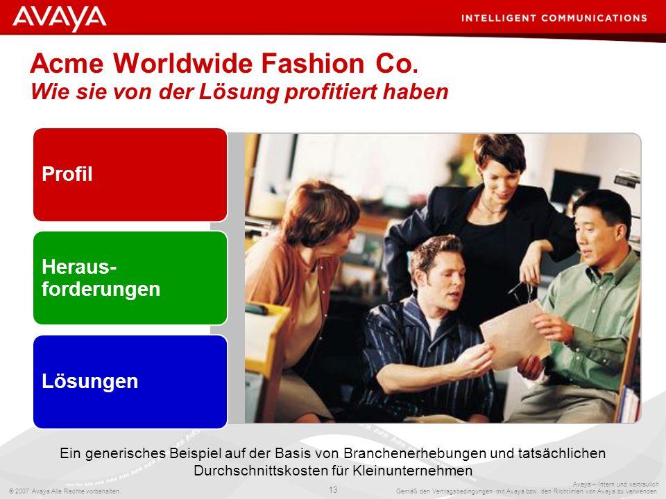 Acme Worldwide Fashion Co. Wie sie von der Lösung profitiert haben