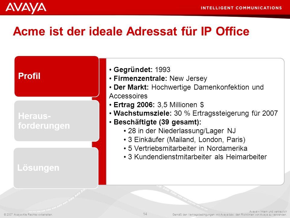 Acme ist der ideale Adressat für IP Office