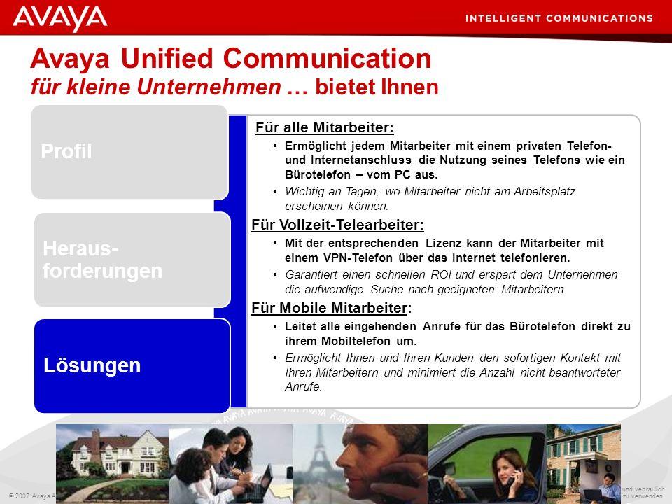 Avaya Unified Communication für kleine Unternehmen … bietet Ihnen