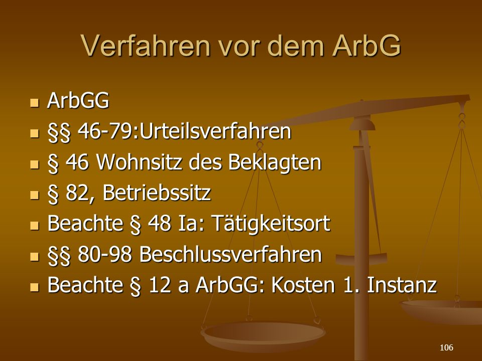 Verfahren vor dem ArbG ArbGG §§ 46-79:Urteilsverfahren