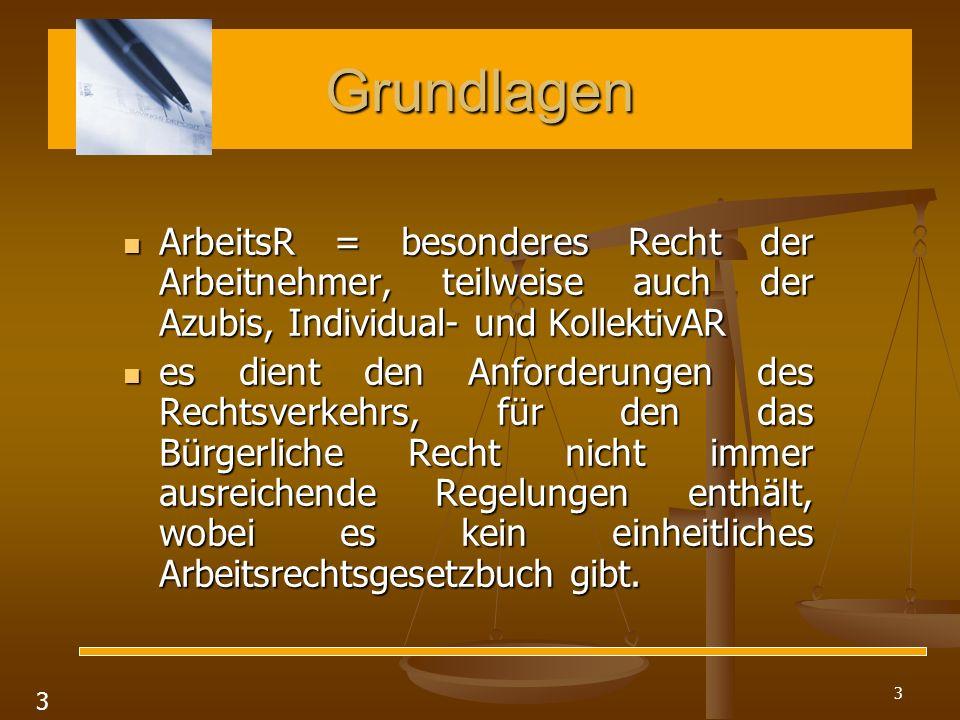 Grundlagen ArbeitsR = besonderes Recht der Arbeitnehmer, teilweise auch der Azubis, Individual- und KollektivAR.