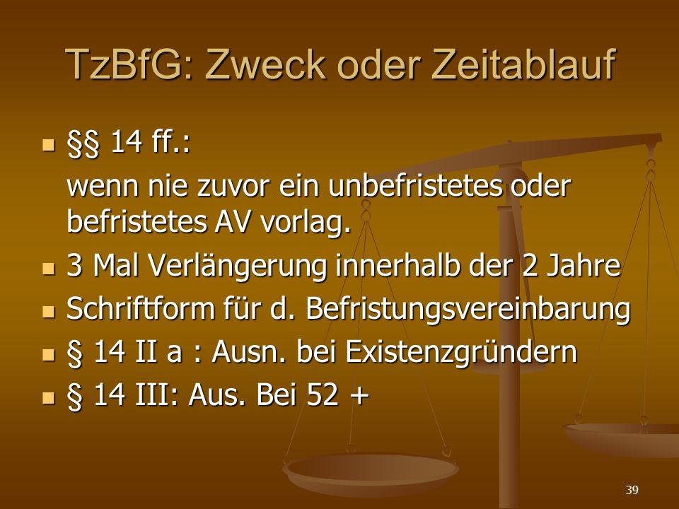 TzBfG: Zweck oder Zeitablauf