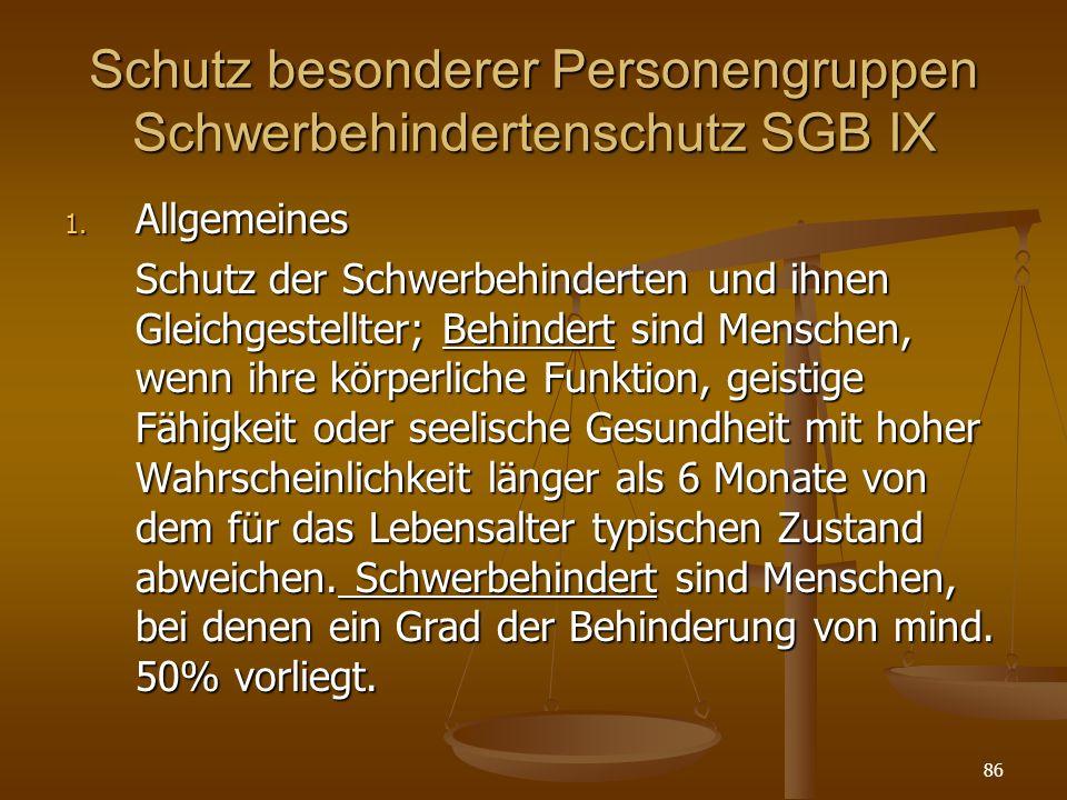 Schutz besonderer Personengruppen Schwerbehindertenschutz SGB IX