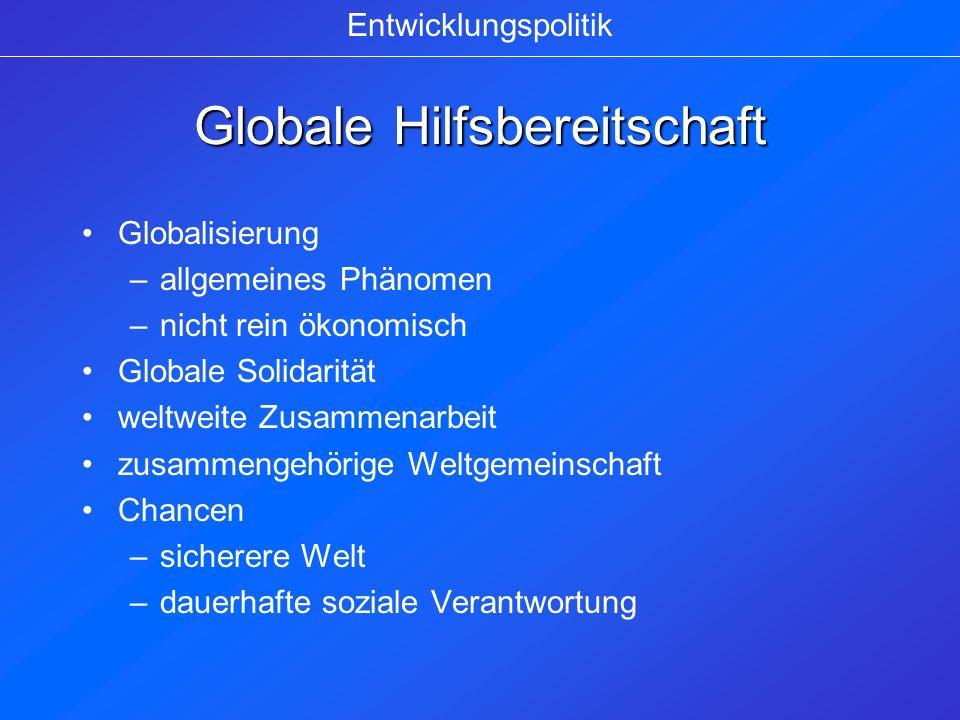 Globale Hilfsbereitschaft