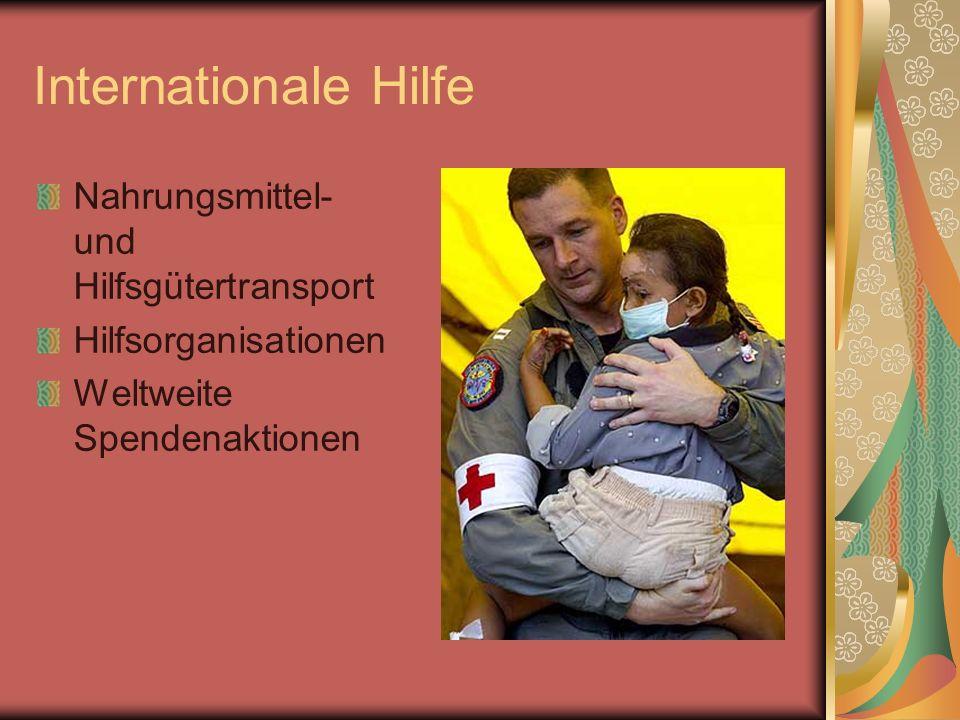 Internationale Hilfe Nahrungsmittel- und Hilfsgütertransport