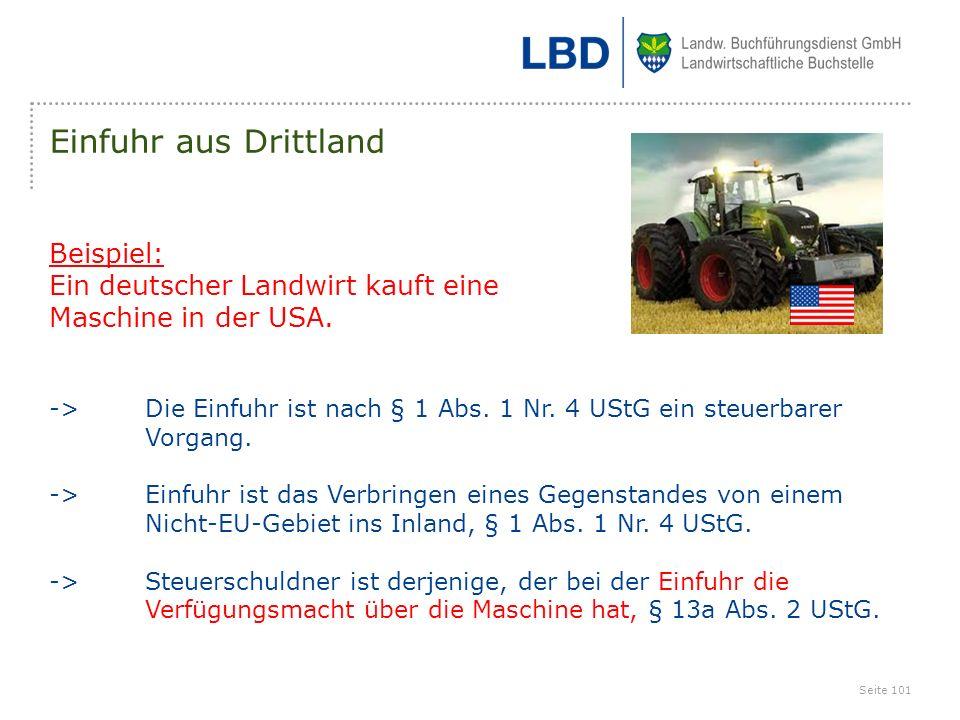 Einfuhr aus Drittland Beispiel: Ein deutscher Landwirt kauft eine