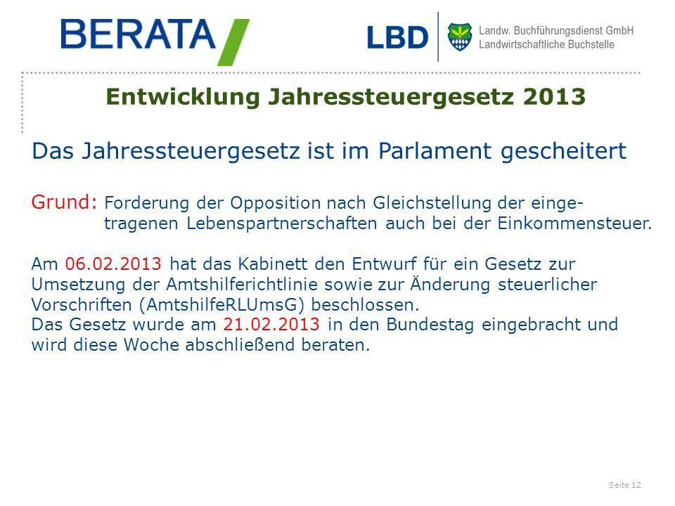 Entwicklung Jahressteuergesetz 2013