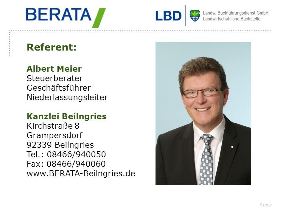 Referent: Albert Meier Steuerberater Geschäftsführer