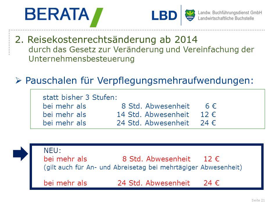 2. Reisekostenrechtsänderung ab 2014