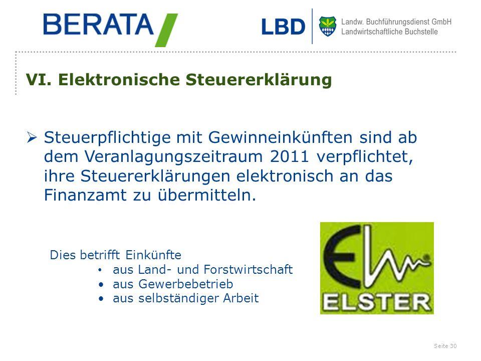 VI. Elektronische Steuererklärung