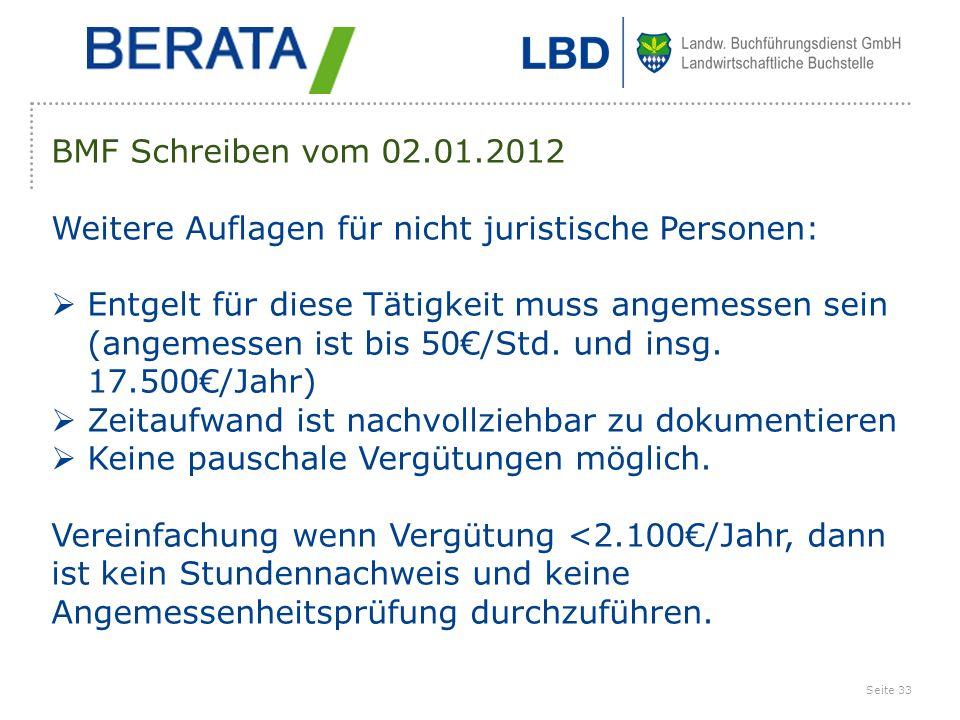 BMF Schreiben vom 02.01.2012 Weitere Auflagen für nicht juristische Personen:
