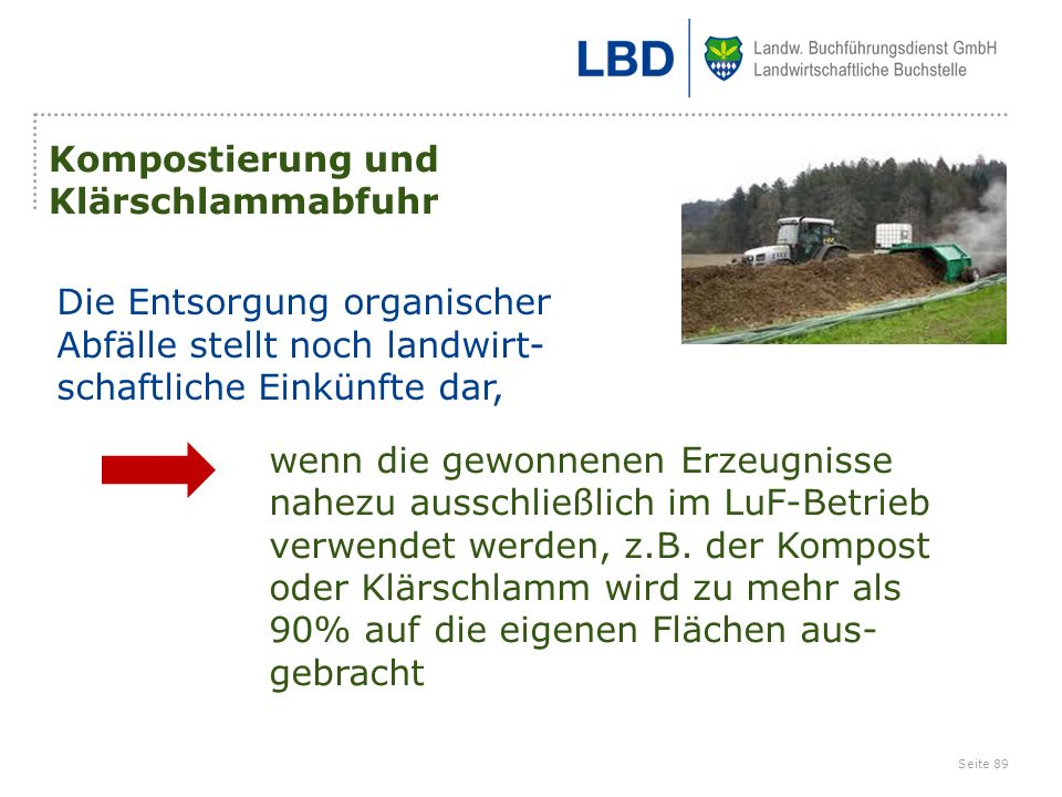 Kompostierung und Klärschlammabfuhr. Die Entsorgung organischer. Abfälle stellt noch landwirt- schaftliche Einkünfte dar,