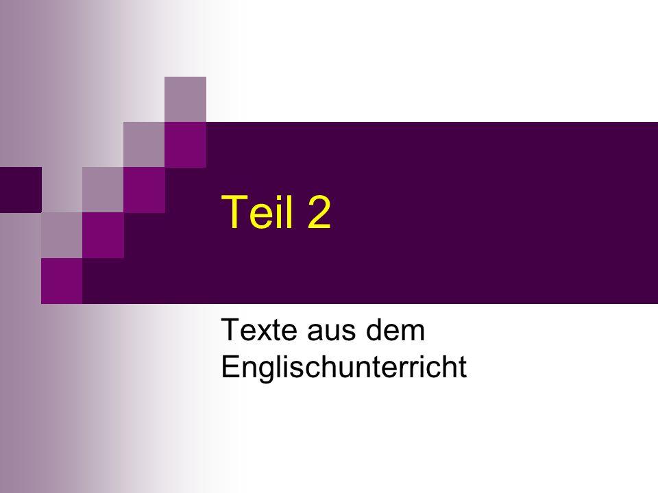 Texte aus dem Englischunterricht