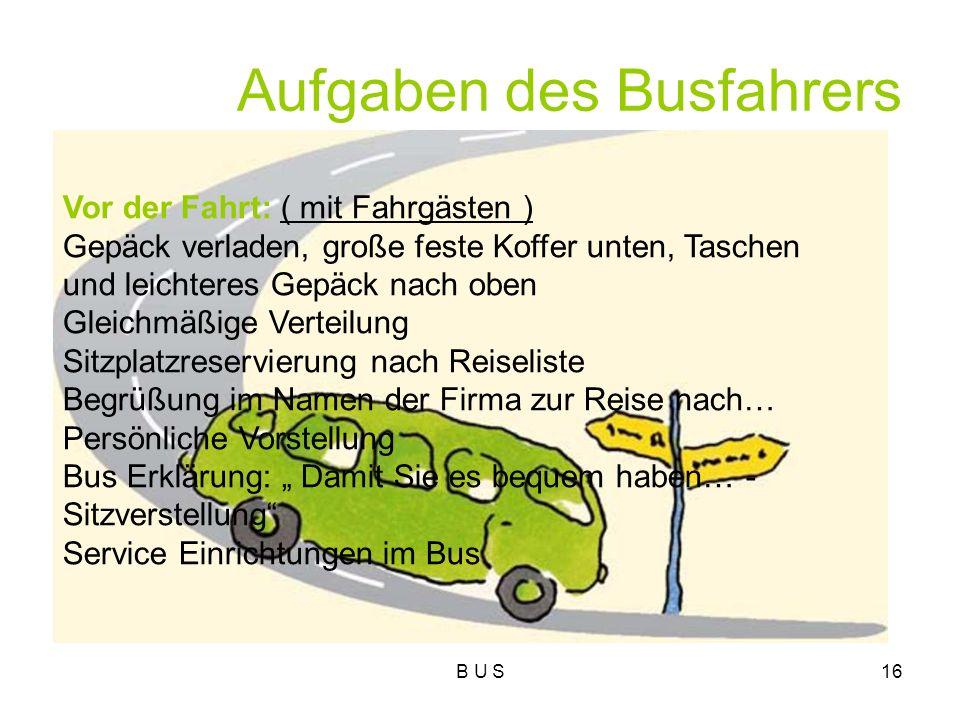 Aufgaben des Busfahrers