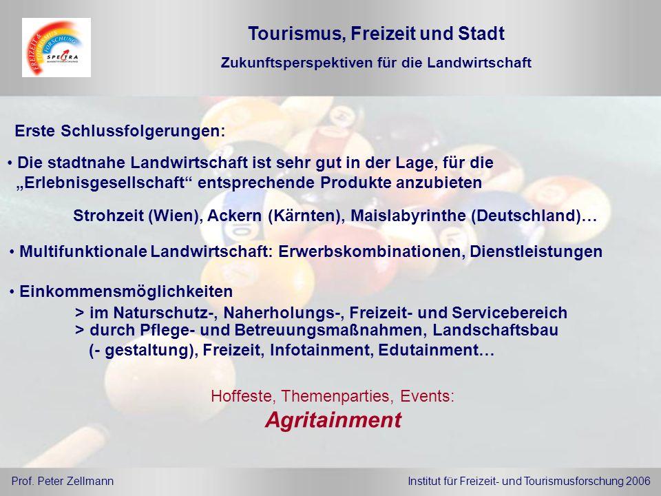 Agritainment Tourismus, Freizeit und Stadt Erste Schlussfolgerungen:
