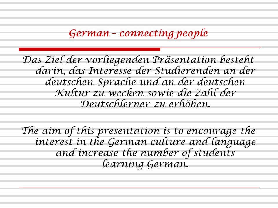 German – connecting people