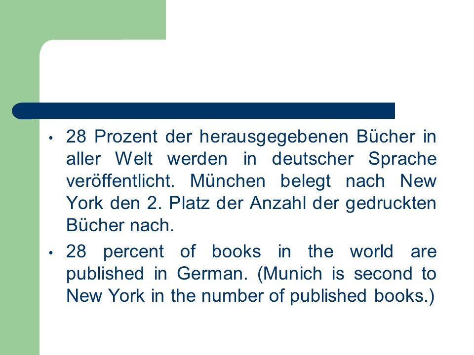 28 Prozent der herausgegebenen Bücher in aller Welt werden in deutscher Sprache veröffentlicht. München belegt nach New York den 2. Platz der Anzahl der gedruckten Bücher nach.