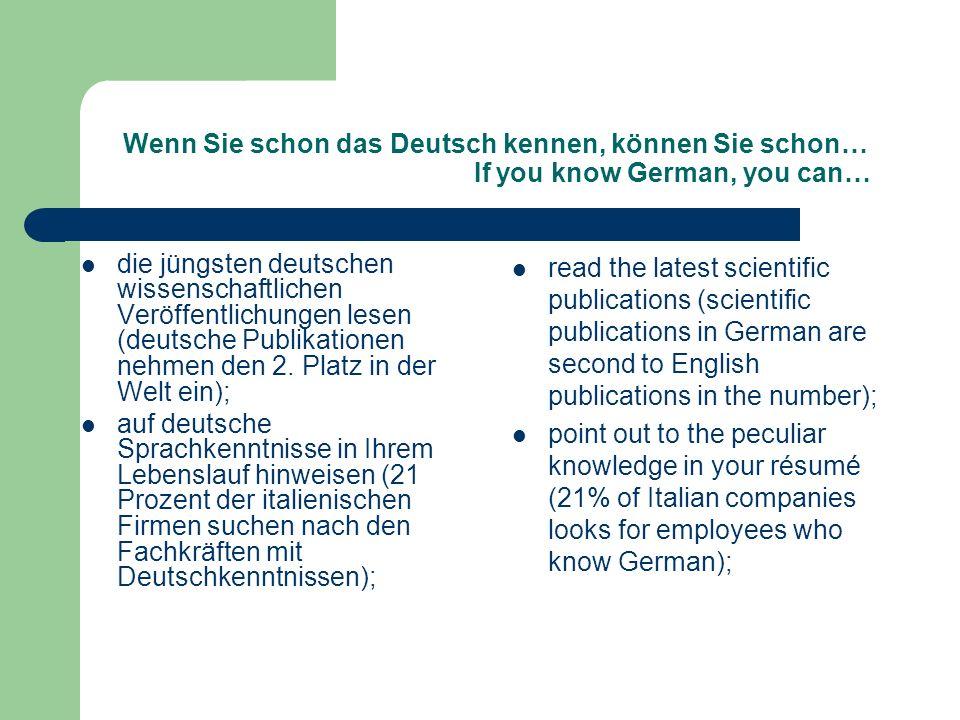 Wenn Sie schon das Deutsch kennen, können Sie schon… If you know German, you can…