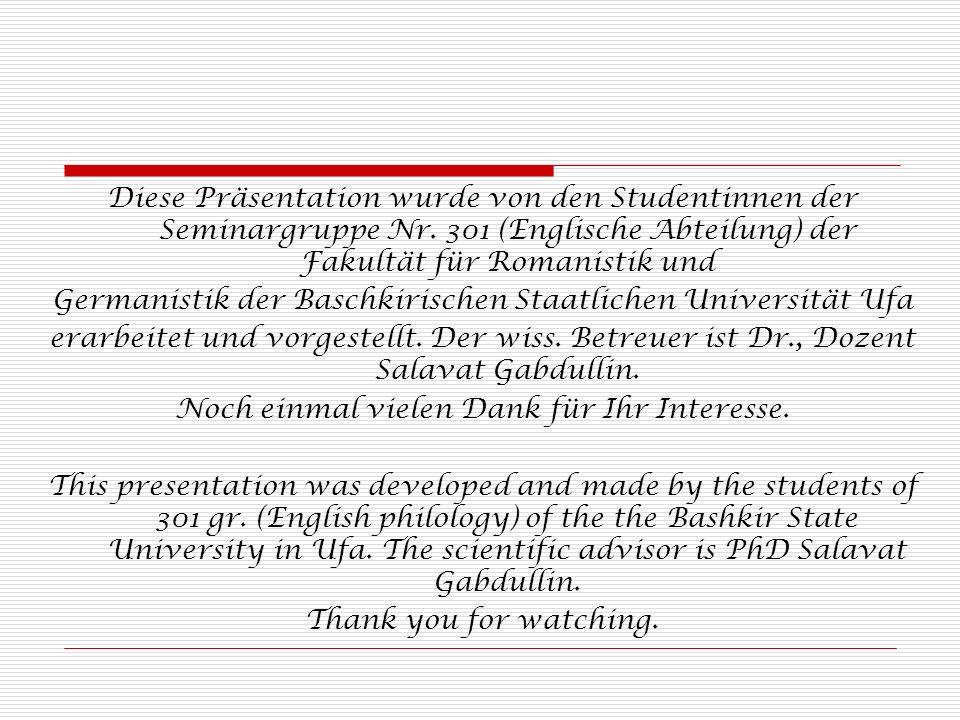 Germanistik der Baschkirischen Staatlichen Universität Ufa