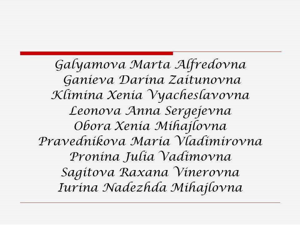 Galyamova Marta Alfredovna Ganieva Darina Zaitunovna