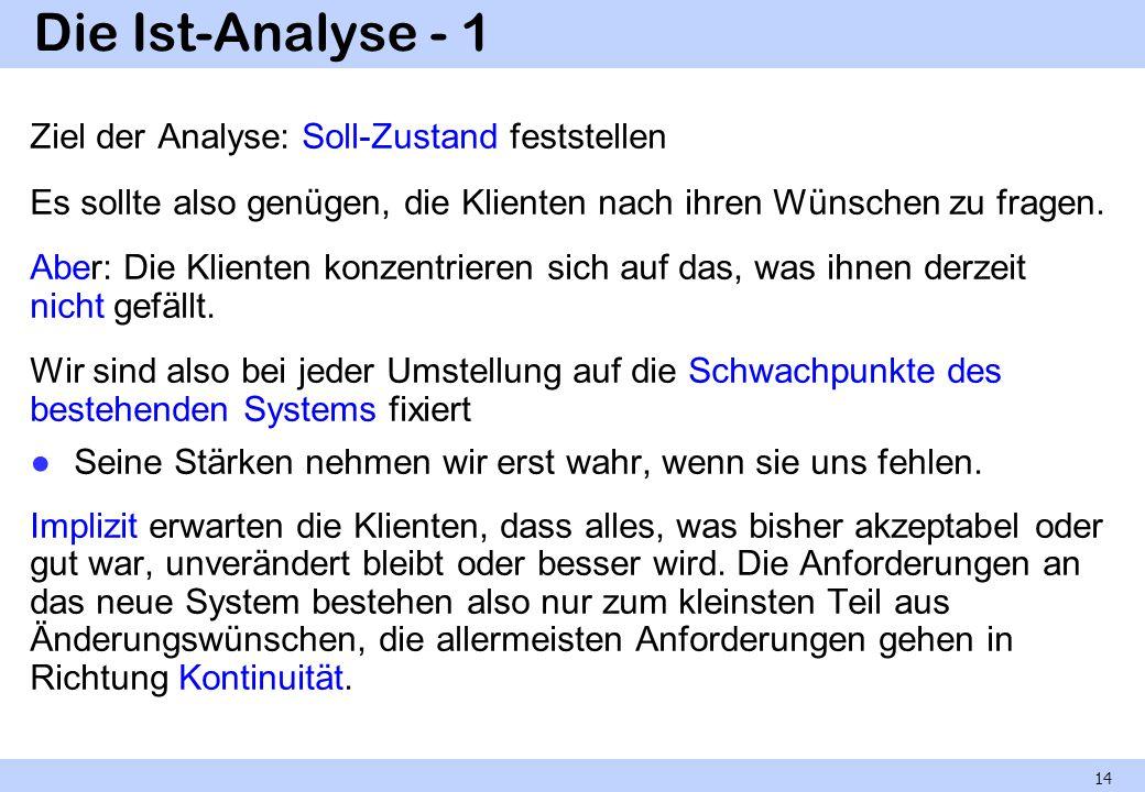 Die Ist-Analyse - 1 Ziel der Analyse: Soll-Zustand feststellen
