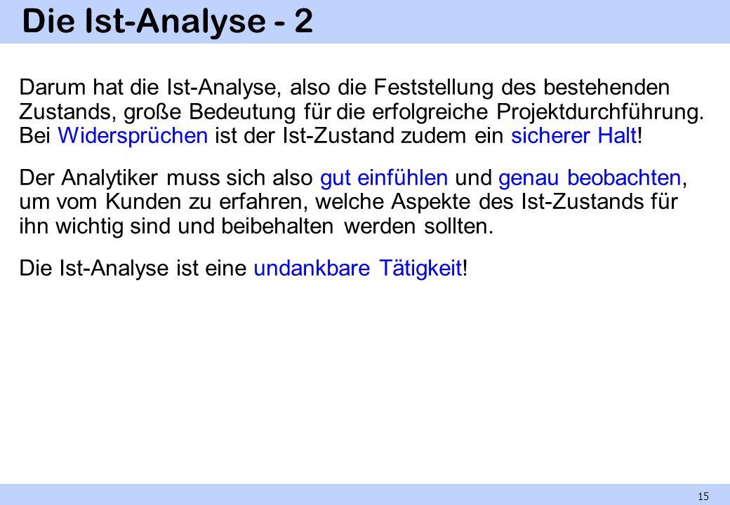 Die Ist-Analyse - 2