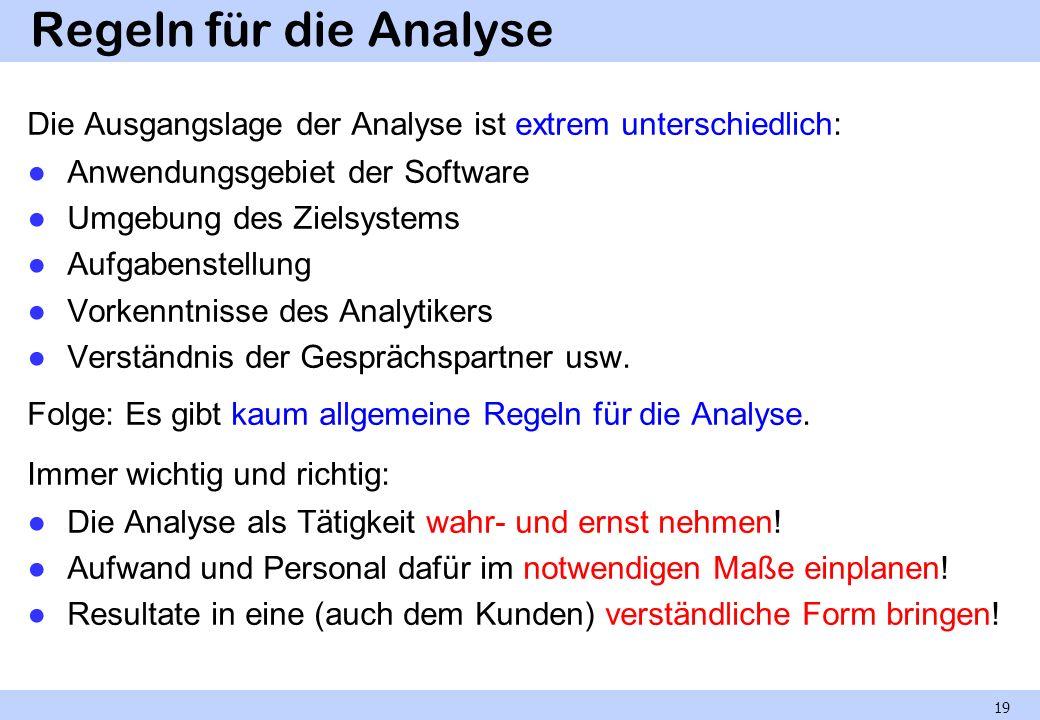 Regeln für die Analyse Die Ausgangslage der Analyse ist extrem unterschiedlich: Anwendungsgebiet der Software.