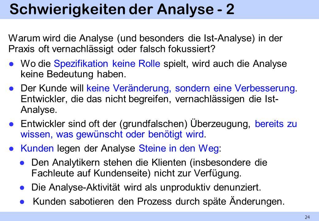 Schwierigkeiten der Analyse - 2