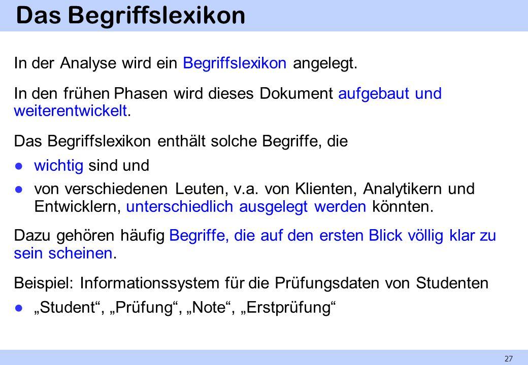 Das Begriffslexikon In der Analyse wird ein Begriffslexikon angelegt.
