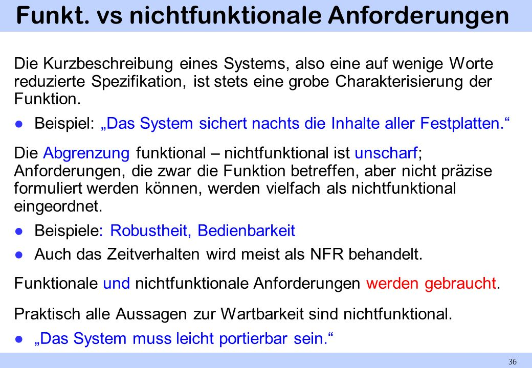 Funkt. vs nichtfunktionale Anforderungen