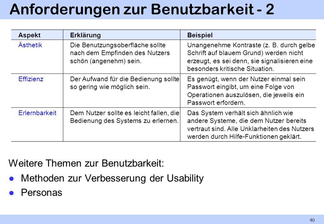 Anforderungen zur Benutzbarkeit - 2