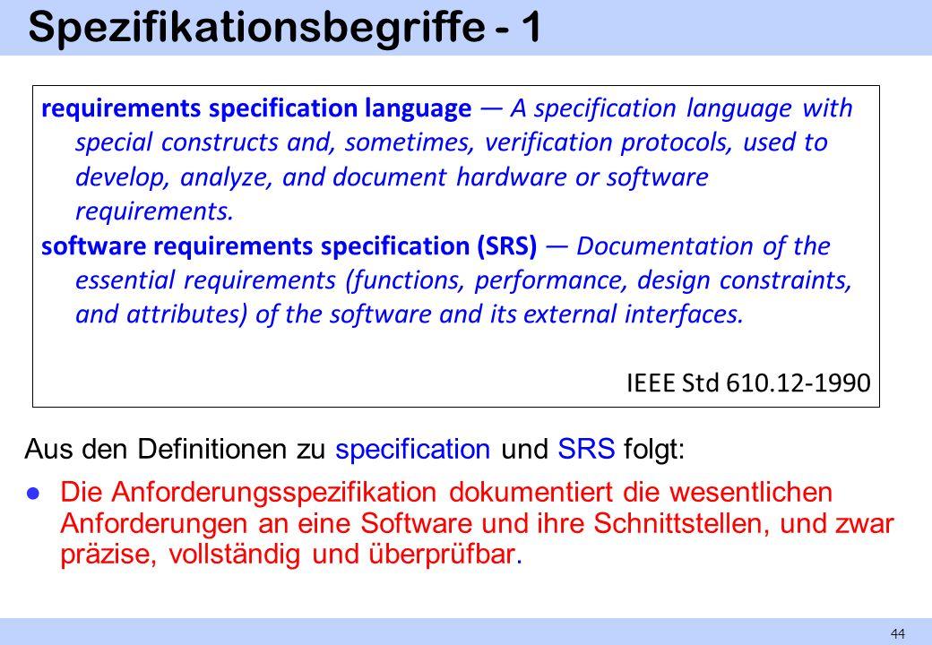 Spezifikationsbegriffe - 1