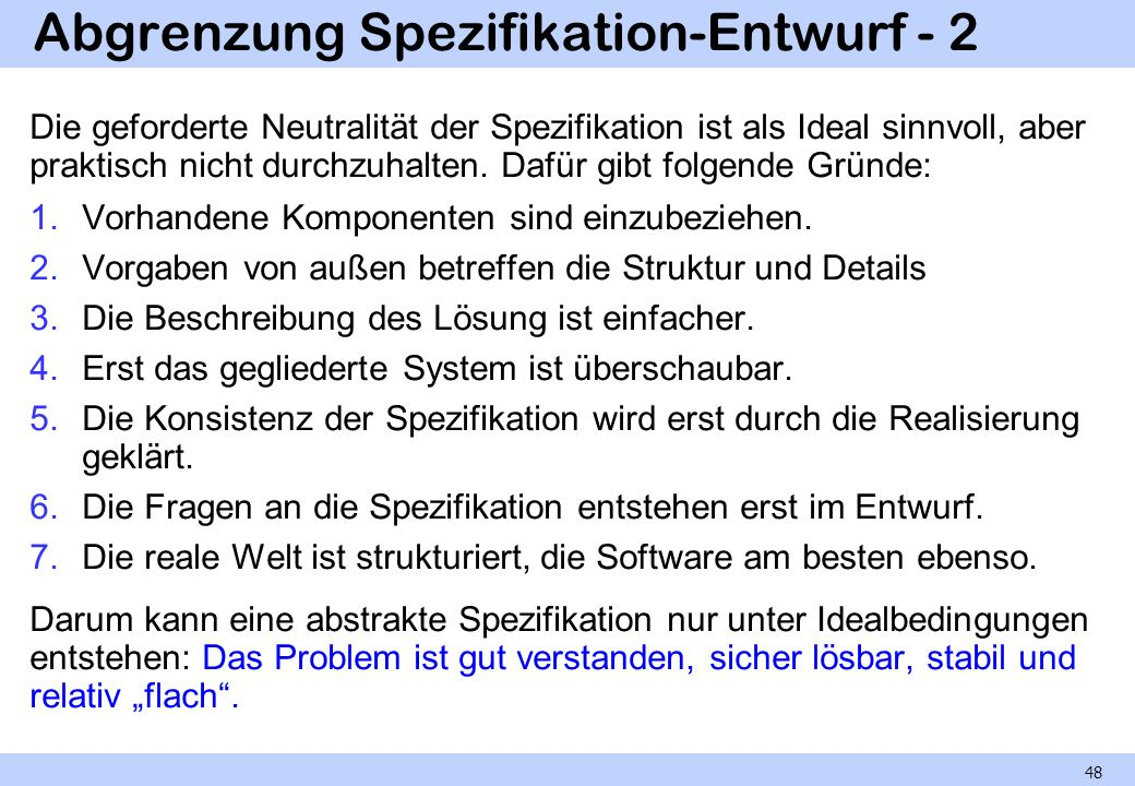 Abgrenzung Spezifikation-Entwurf - 2