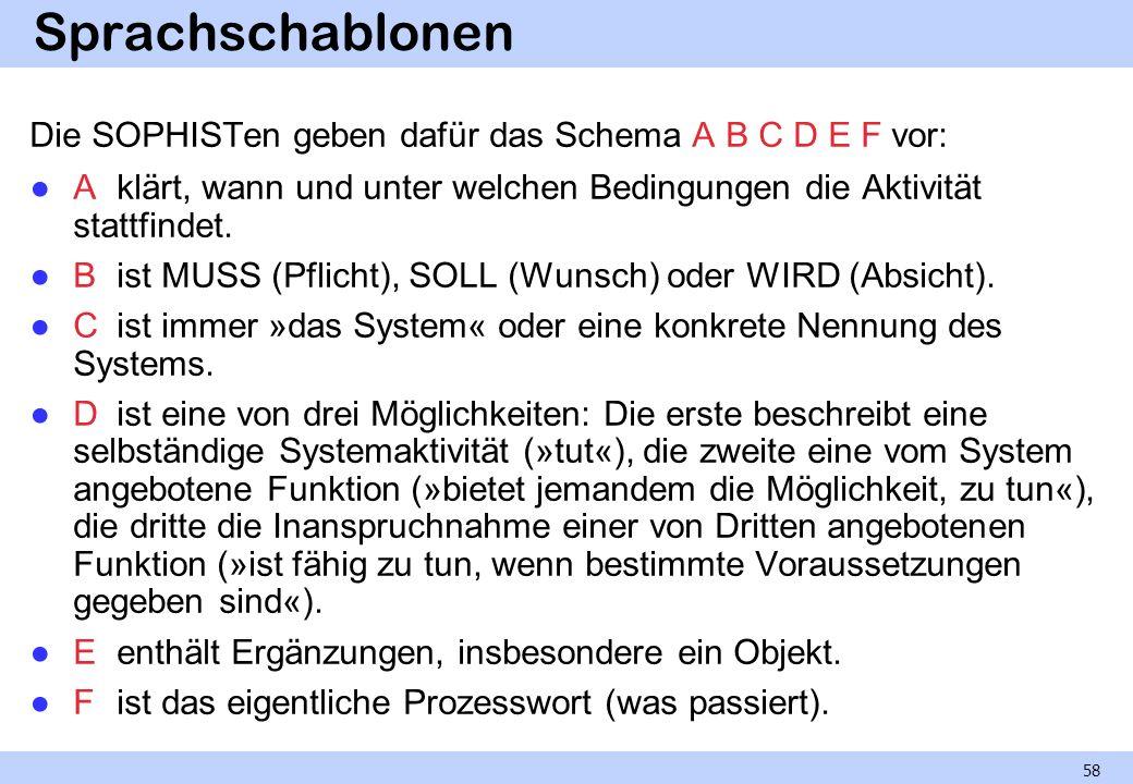 Sprachschablonen Die SOPHISTen geben dafür das Schema A B C D E F vor: