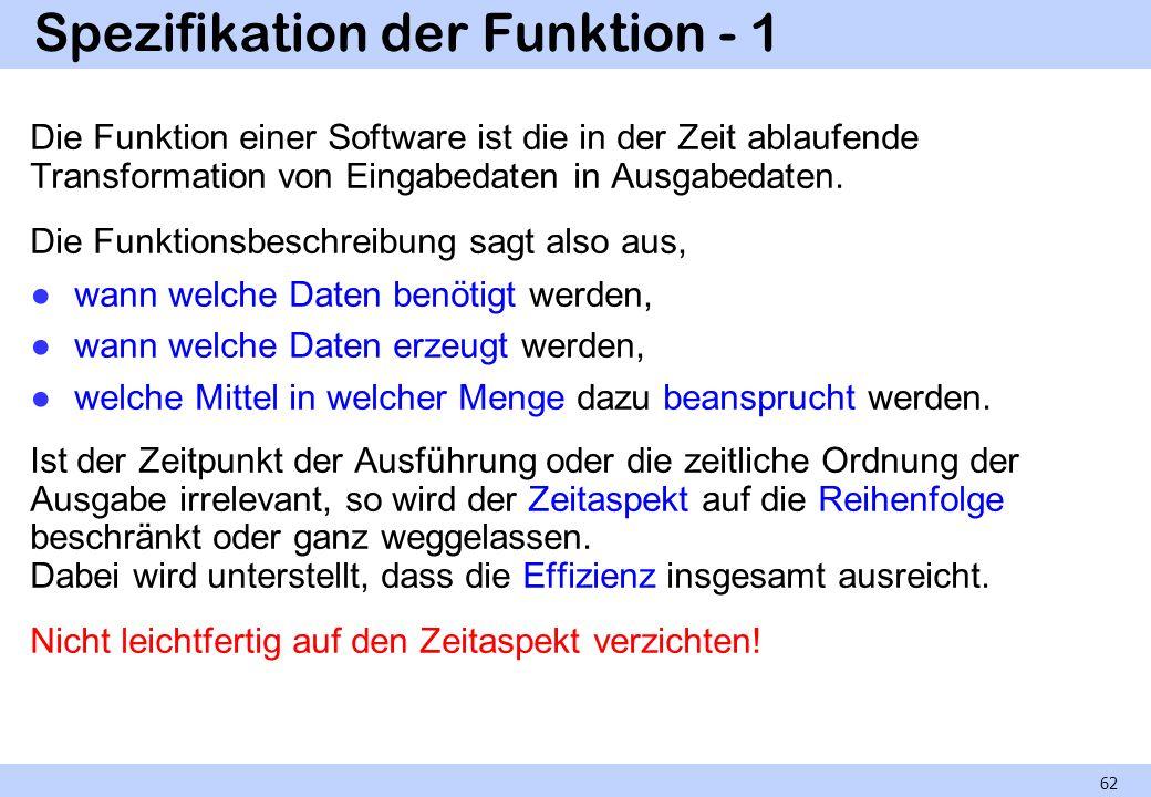 Spezifikation der Funktion - 1