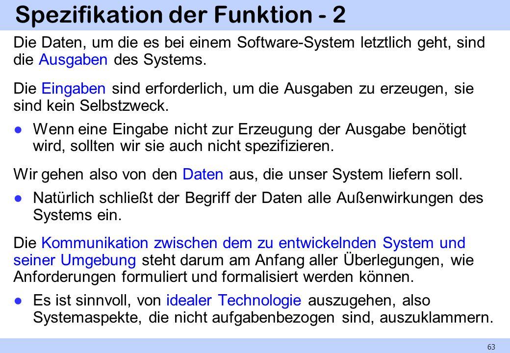 Spezifikation der Funktion - 2