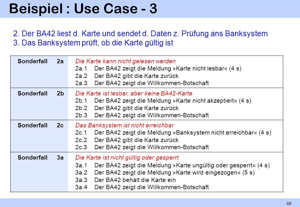 Beispiel : Use Case - 3 2. Der BA42 liest d. Karte und sendet d. Daten z. Prüfung ans Banksystem. 3. Das Banksystem prüft, ob die Karte gültig ist.