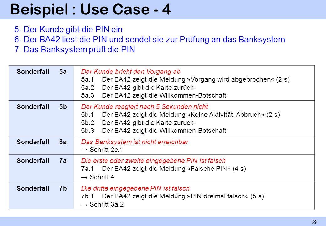 Beispiel : Use Case - 4 5. Der Kunde gibt die PIN ein 6. Der BA42 liest die PIN und sendet sie zur Prüfung an das Banksystem.