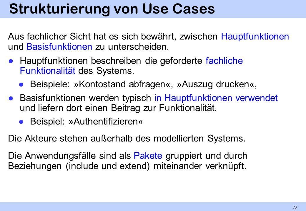 Strukturierung von Use Cases