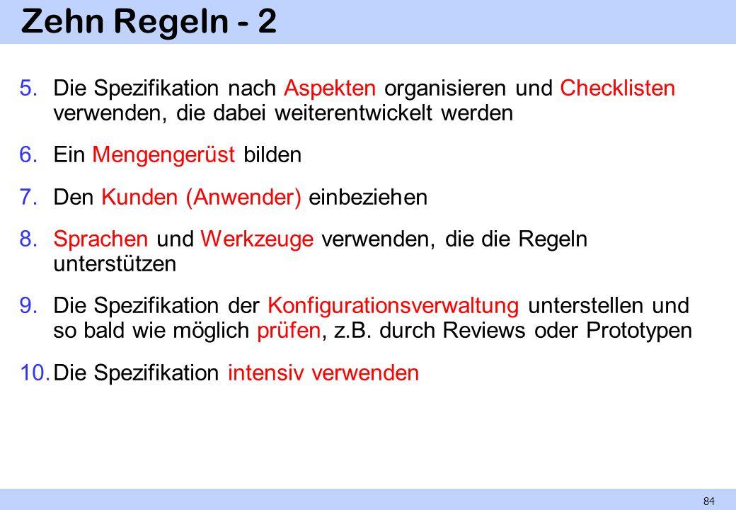 Zehn Regeln - 2 Die Spezifikation nach Aspekten organisieren und Checklisten verwenden, die dabei weiterentwickelt werden.