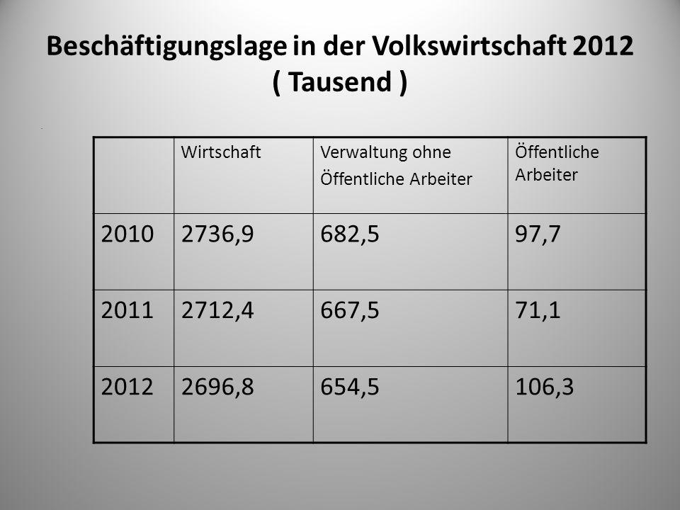 Beschäftigungslage in der Volkswirtschaft 2012 ( Tausend )