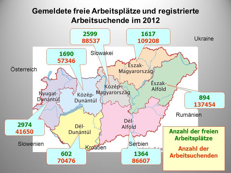 Gemeldete freie Arbeitsplätze und registrierte Arbeitsuchende im 2012
