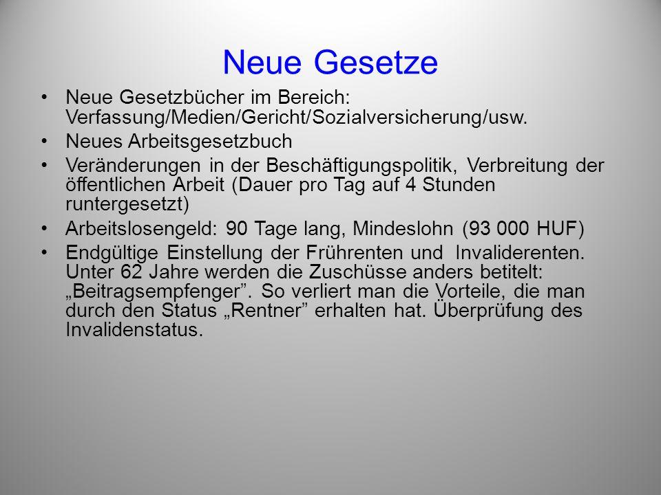 Neue Gesetze Neue Gesetzbücher im Bereich: Verfassung/Medien/Gericht/Sozialversicherung/usw. Neues Arbeitsgesetzbuch.