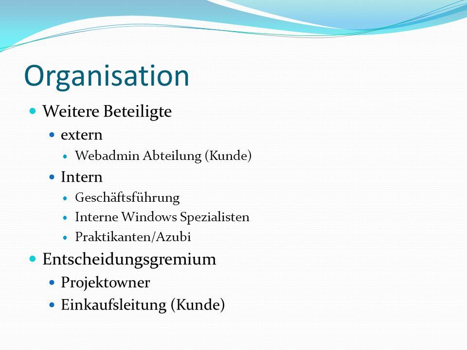 Organisation Weitere Beteiligte Entscheidungsgremium extern Intern