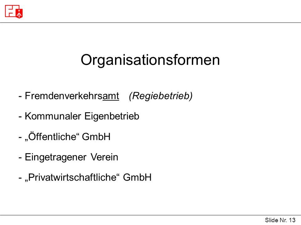 Organisationsformen Fremdenverkehrsamt (Regiebetrieb)
